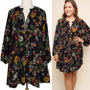 The Secret Garden 2X Black Floral Boho Dress